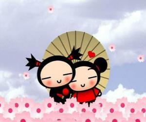 Garu und Pucca unter einem Regenschirm puzzle