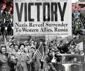 Gedenken an den alliierten Sieg über den Nationalsozialismus und dem Ende des Zweiten Weltkriegs. Tag des Sieges, 8. Mai 1945 puzzle