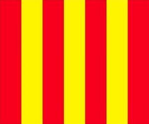 Gelbe Flagge mit roten Streifen an den Fahrer warnen, dass die Strecke rutschig ist puzzle