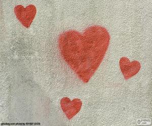 Gemalte rote Herzen puzzle