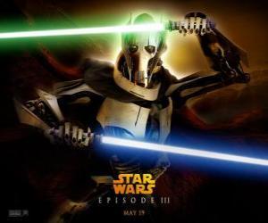 General Grievous es ist eine furchterregende und mächtige Cyborg, der sein Leben der Vernichtung der Republik gewidmet ist und die Ausrottung der Jedi-Ritter. puzzle