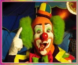 Gesicht de clown mit perücke, hut und greats riechen und mouth  puzzle