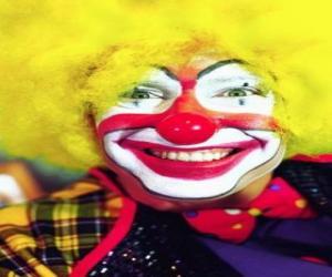 Gesicht de clown mit perücke und greats riechen und mouth  puzzle