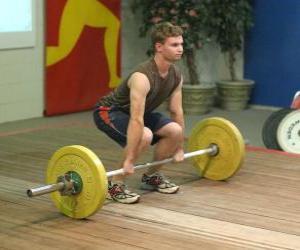 Gewichtheben - Gewichtheber in den beginn der übung puzzle
