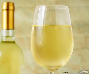 Glas mit Weißwein puzzle
