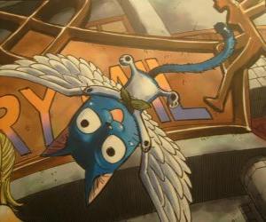 Glücklich ist eine Katze, die mit magischen Flügel haben kann, Natsu unzertrennlichen Begleiter in die Abenteuer von Fairy Tail puzzle