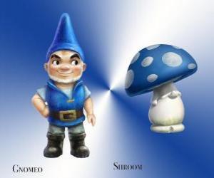 Gnomeo ist ein schöner und stolzer Blue Garden Gnome, zusammen mit seinem loyalen und treuen Begleiter Gips Mushroom Pilz Pilz puzzle