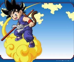 Goku im Sattel seines Kinton Wolke, die fliegen mit hoher Geschwindigkeit puzzle