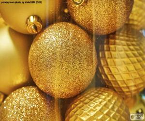 Goldene Bälle zu Weihnachten puzzle