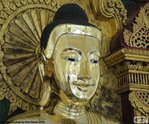 Goldene Buddha-Kopf puzzle