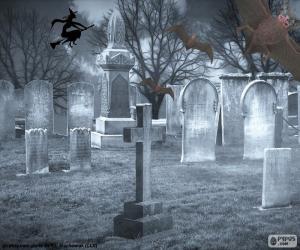Gräber auf dem Friedhof, Halloween puzzle