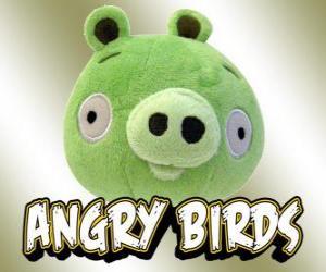 Green Pig oder Grün Schwein, einem der Charaktere in Spielen Rovio Angry Birds puzzle