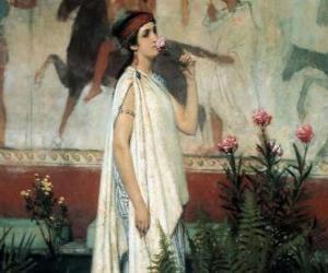 Griechische frau oder dame mit ihrem tunika oder chiton puzzle