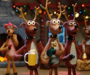Gruppe feiert Weihnachten Weihnachten Rentier puzzle