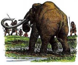 Gruppe prähistorische männer bewaffnete mit stangen in der jagd eine mammut puzzle