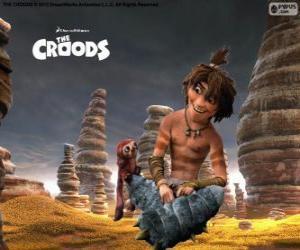 Guy, eine witzige Teenager zeigt eine neue Welt der Croods-Familie puzzle