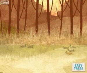 Hässliche Entlein, Schwimmen im Teich mit seinen Brüdern puzzle