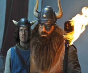 Halvar, Vicky's Vater und der Anführer der Wikinger in das Dorf Flake mit seiner Augenklappe puzzle