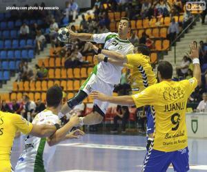 Handball - Ein Spieler in den spieler zu starten puzzle