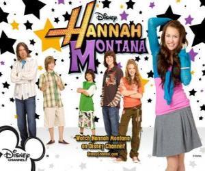 """Hauptfiguren von Hannah Montana, Miley Ray Stewart, Lillian """"Lilly"""" Truscott, Oliver Oken, Rod Stewart Jackson, Robby Ray Stewart und Rico Suave puzzle"""