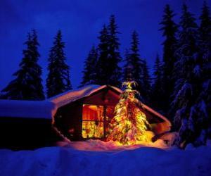 Haus mit einem großen geschmückten Weihnachtsbaum im garten puzzle