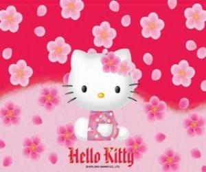 Hello Kitty mit blumen puzzle