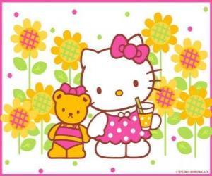 Hello Kitty mit einem Drink in der Landschaft mit ihren Teddybär Tiny Chum puzzle