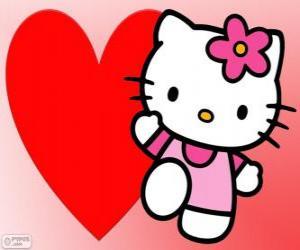 Hello Kitty mit einem großen Herzen puzzle