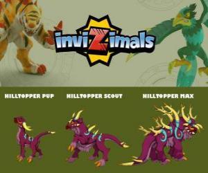 Hilltopper in drei phasen Hilltopper Pup, Hilltopper Scott und Hilltopper Max, Invizimals puzzle