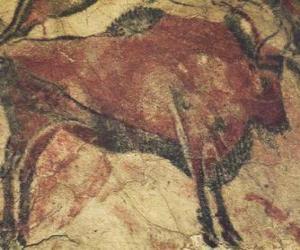 Höhlenmalerei die ein Büffel an der Wand einer Höhle puzzle