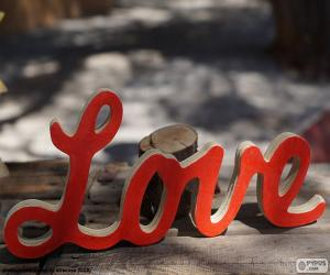 Holzschild, Love puzzle