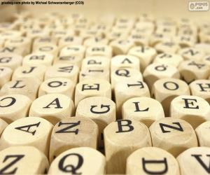 Holzwürfelbuchstaben puzzle
