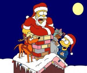 Homer und Bart Simpson helfen Weihnachtsmann mit Geschenken puzzle