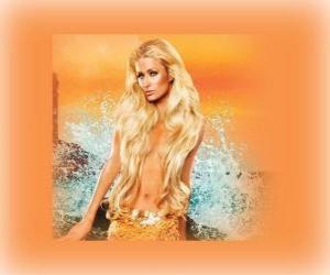 Hübsche Meerjungfrau mit ihren langen Haaren puzzle