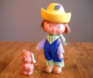 Huckleberry Pie spielt mit seinem Hund Haustier Pupcake. Er ist einer der  Emily Erdbeer Freund puzzle