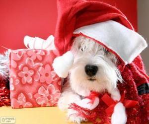 Hunde mit einer Nikolausmütze und seine Gabe puzzle