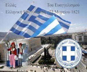 Independence Day von Griechenland, 25. März 1821. Unabhängigkeitskrieg oder griechischen Revolution puzzle