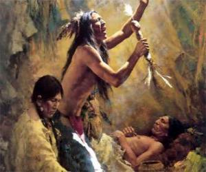 Indianer in einem traditionellen Ritual unter Berufung auf die Geister puzzle