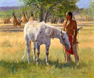 Indianischen Krieger mit seinem Pferd in der Nähe des Lagers puzzle