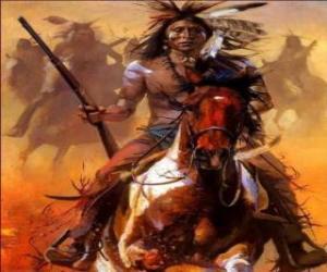Indianischen Krieger Reiten über puzzle