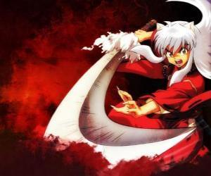 InuYasha mit seinem Schwert in seinen Kämpfen gegen Monster und Feinde eingesetzt puzzle