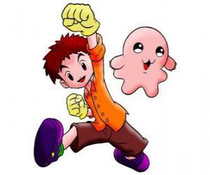 Izzy mit seinem Digimon Motimon. Koushiro Izumi ist ein sehr intelligenter Kerl puzzle