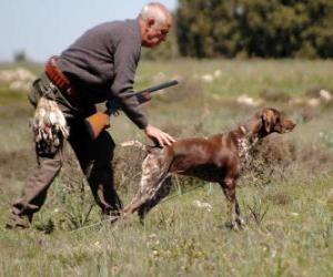 Jäger mit seinem Hund Jagd puzzle