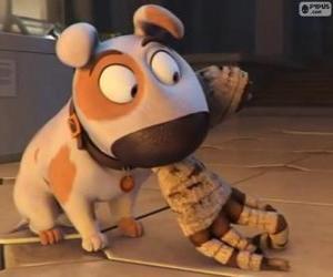 Jeff der Hund mit dem Arm einer Mumie im Mund puzzle