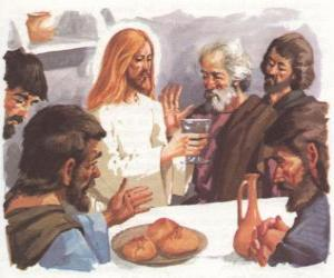 Jesus gesegnet Brot und Wein auf das Letzte Abendmahl puzzle