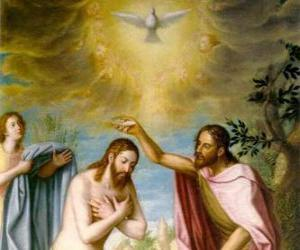 Jesus getauft von Johannes der Täufer im fluss Jordan puzzle