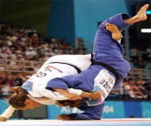 Judo - Zwei judoists üben puzzle