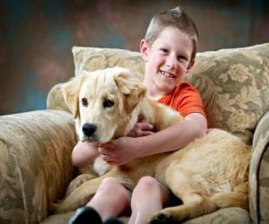 Junge mit seinem Hund puzzle