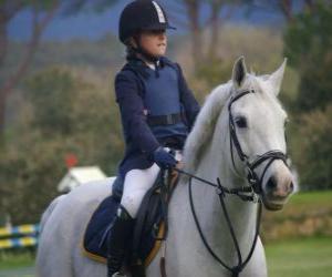Junge Reiter reiten, Mädchen auf Pferd puzzle