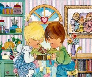 Junge und Mädchen zu beten. Precious Moments puzzle